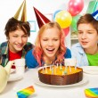 Happy teens celebrate birthday — Stock Photo #77367802