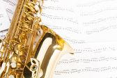 Beautiful alto saxophone with keys — Stock Photo