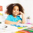 African girl writes letters — Stock Photo #77371692