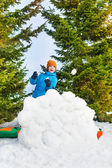 Laughing boy in blue winter jacket — Stock Photo