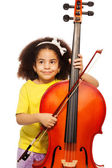 African girl holding violoncello — Photo