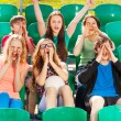 Happy teenagers cheer for team — Stock Photo #77384824