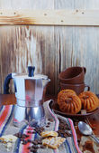 Still life of coffee and muffins. Tasty breakfast. — Stock Photo