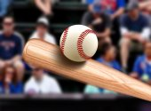 Baseball Bat Hitting Ball — Stock Photo