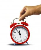 Hand Holding Alarm Clock — Stock Photo