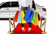 Exclusive Shopping Style with Limo and Red Carpet — Stockfoto