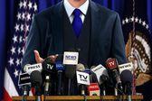 Politician at Press Conference — Stock Photo