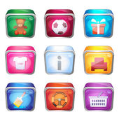 3d set of icons — Stock Vector