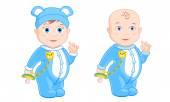 Little boy in blue pajamas — Stock Vector