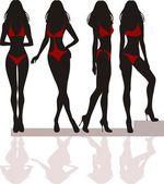Silueta de las chicas — Vector de stock