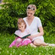 Little girl and her mother reading a book — Stock Photo #68458439
