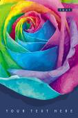 Rainbow rose carte noir — Vecteur