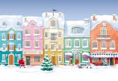 Old historical houses, shops and cafe at the snow-covered city s — Stockvector