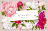Pink, red and white peony greeting card — ストックベクタ