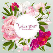 Pink, red and white peony greeting card — Cтоковый вектор