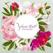 Pink, red and white peony greeting card — Wektor stockowy