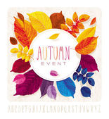 Autumn leaves grunge circle — Stock Vector