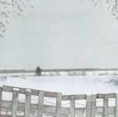 Winter background with wooden fence — Stockfoto