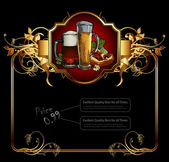Ornate frame with beer elements — Stock Vector