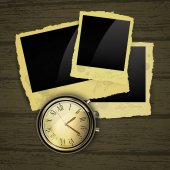 Clocks with photography background — Stock Vector