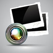 Camera lens with photos — Stock Vector