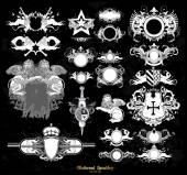 Set ortaçağ hanedanlık armaları — Stok Vektör