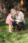 The girl tells something to the father, looking at two dogs — Stock Photo