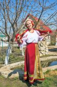 Woman in Russian national sundress — Stock Photo