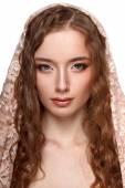 Beauty model portrait with headscarf — Stock Photo