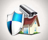 House with protection shield — Wektor stockowy
