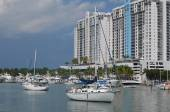 Small Sailboats and a Condo Complex — Foto Stock