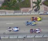 Birds Eye View of Electric Races Cars — Stock Photo
