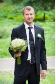 Young handsome groom — Stock Photo