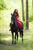 Brunette girl on horse — Foto de Stock