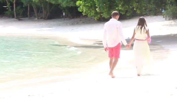Feliz novio y novia hermosa — Vídeo de stock