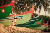 Beautiful blonde girl in swimming suit — Stok fotoğraf