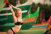 Beautiful blonde girl in swimming suit — Stock Photo