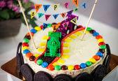Delicious vanilla cake for children birthday party — Stock Photo
