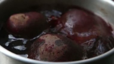 Red beet in boil — Stock Video