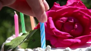 Hands put candles on cake — Stock Video