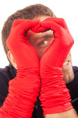 Handsome man in red gloves — Stock Photo