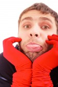 Handsome man with red gloves — Stock Photo