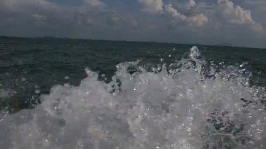 Boat tripping in open sea — Stock Video