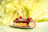 Chocolate birthday cake with one candle — Stock Photo