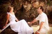 Happy bride and handsome groom — Stock Photo