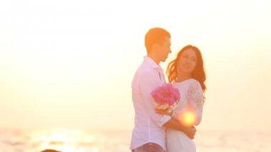 Romantic groom and bride — Stock Video