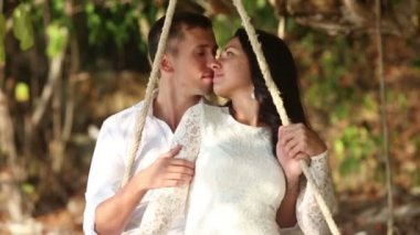 Happy romantic groom and bride — Stock Video