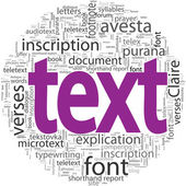 Text concept in word tag cloud isolated — Stock Vector
