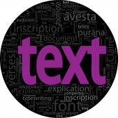 Text concept  black backgroung in word tag cloud isolated — Stock Vector