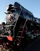 Black steam locomotive — Stock Photo